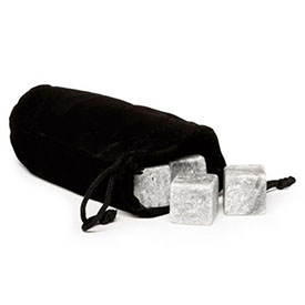 Granite Whiskey Stones in a Velvet Pouch