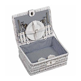 White Washed Picnic Basket - Includes Plates, Cutlery & Glassware